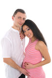 Pregnant Couple Caucasoid Father, Mother Asian Royalty Free Stock Image