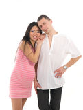 Pregnant couple Caucasoid father, mother asian Stock Photography
