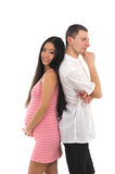 Pregnant couple Caucasoid father, mother asian Stock Photos