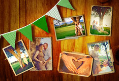 Pregnant couple collage. Collage of photos of the pregnant couple outdoors on a summer day at sunset on a wooden background with green flags Royalty Free Stock Photo