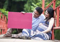 Pregnant couple with coypspase Royalty Free Stock Photos