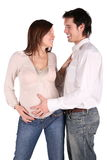 Pregnant couple embrace Royalty Free Stock Photos