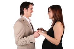 Pregnant couple face-to-face Royalty Free Stock Images
