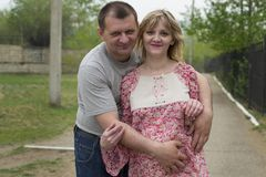 Man and a pregnant woman in the park Royalty Free Stock Image