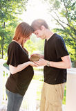 Pregnant couple with nest Royalty Free Stock Image