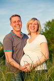 Pregnant couple in the park. Happy pregnant couple in the park Stock Photography