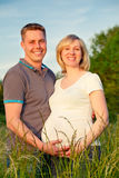 Pregnant couple in the park. Happy pregnant couple in the park Royalty Free Stock Photo