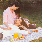 Pregnant couple on picnic Royalty Free Stock Photography