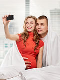 Pregnant couple selfie Stock Photo
