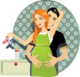 Pregnant Couple. Vector illustration of a happy pregnant couple, flower wallpaper background, nightstand with baby bottle. AI8 vector file included Stock Image