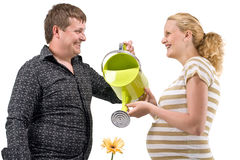 Pregnant couple waters flower Stock Photos