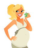Pregnant eating apple vector Stock Image