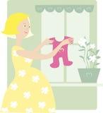 Pregnant enjoys baby dress. Young pregnant woman enjoys baby dress royalty free illustration