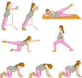 Pregnant exercises sets Stock Images
