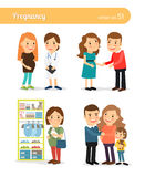 Pregnant and expecting the birth of baby. Family and motherhood. Vector illustration Stock Photography