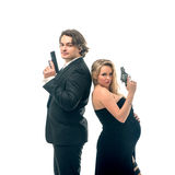 Pregnant fashion woman and husband in gangsta style Royalty Free Stock Photography