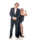 Pregnant fashion woman and husband in gangsta style Royalty Free Stock Image