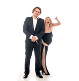 Pregnant fashion woman and husband in gangsta style Stock Photos