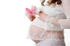 Pregnant female. (isolated on white Royalty Free Stock Images