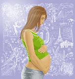 Pregnant Female With Belly Against Love Background. Love concept. Vector pregnant female with tummy, waiting for new life against love story elements background Stock Photography