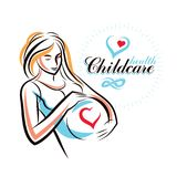 Pregnant female body shape hand drawn vector illustration, beaut Royalty Free Stock Images