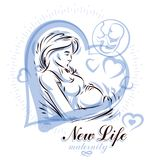 Pregnant female body shape hand drawn vector illustration, beaut. Iful lady gently touching her belly. Prenatal center and motherhood preparing clinic promotion Royalty Free Stock Photos