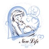 Pregnant female body shape hand drawn vector illustration, beaut. Iful lady gently touching her belly. Prenatal center and motherhood preparing clinic promotion Stock Photos