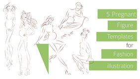 Pregnant Figure templates for fashion illustration Royalty Free Stock Photography