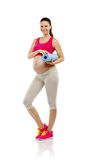 Pregnant fitness woman isolated on white Royalty Free Stock Photo