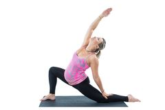 Pregnant fitness woman make stretch on yoga and pilates pose on white background Royalty Free Stock Photo