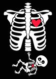 Pregnant. Funny skeletons mom and baby. On the black background Stock Photo