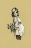 Pregnant girl. Smiling pregnant girl with a bouquet of flowers in her hands Stock Photography