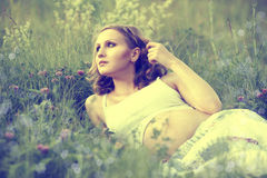 Pregnant girl. Young pregnant girl lies in flower meadow stock photo