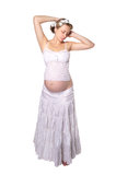 Pregnant girl in bright colors Stock Photos