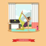 Pregnant girl doing morning exercises, flat design Royalty Free Stock Images