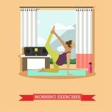 Pregnant girl doing morning exercises, flat design Royalty Free Stock Photo