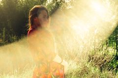 Pregnant girl in dress in nature stock images