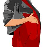 A pregnant girl, a expectant mother, keeps her hand on her stomach stock illustration