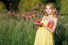 Pregnant girl among the flowers with a toy Stock Photos