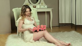 Pregnant girl in front stock video footage