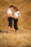 The pregnant girl and the guy on a mow Royalty Free Stock Photography