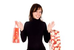 Pregnant girl holds packages Stock Photos