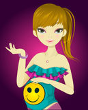 Pregnant Girl, illustration. Pregnant Girl, in Colorful Outfit, Holding Her Tummy, vector illustration Royalty Free Stock Photos