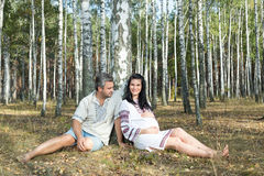 Pregnant girl and man in a birch grove. Stock Image
