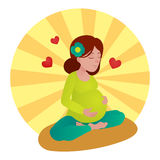Pregnant girl meditation vector illustration Royalty Free Stock Images