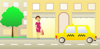 Pregnant girl near showcase. And taxi car royalty free illustration