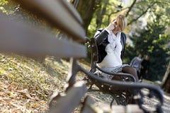 Pregnant girl in the park Stock Image