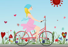Pregnant girl rides a Bicycle on the field with blue sky background. Vector illustration. Horizontal Royalty Free Stock Photos
