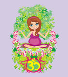 Pregnant girl sits and meditates,abstract card Royalty Free Stock Photo