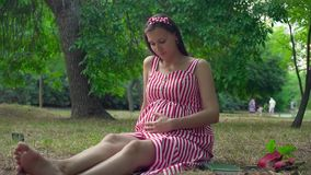 A pregnant girl sitting on the grass in the park. A girl with long hair in a striped white-red dress strokes her tummy. stock footage